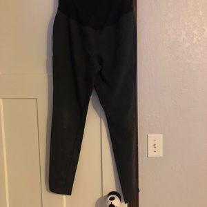 Black maternity Ponte knit pants (full panel)